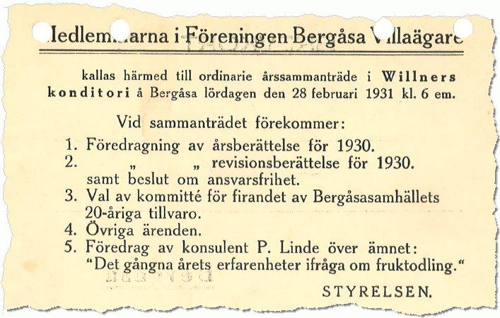 Inbjudan till årsmöte, anno 1931
