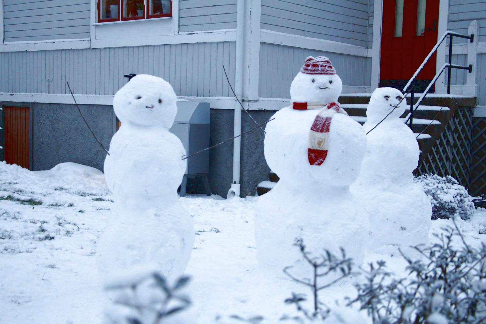 Snöfamilj på Valhallavägen, 2017-01-07.