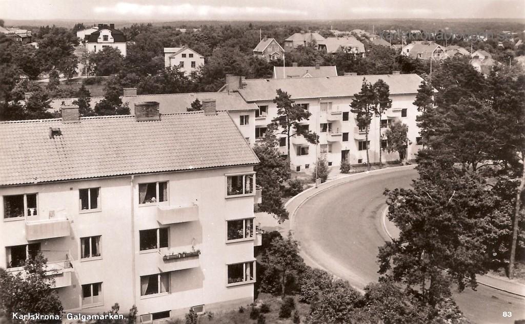 Galgamarken, foto från 1950 talet. I bakgrunden skymtar en del av villorna på Bergåsa.