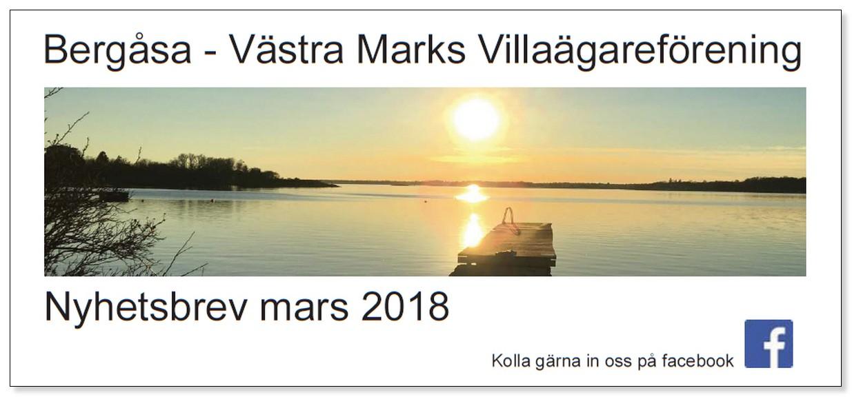 Villaföreningens Nyhetsbrev, mars 2018