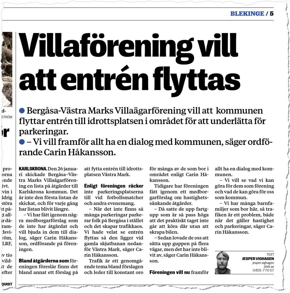 Blekinge Läns Tidning, 2020-02-09. Text: Jesper Vighagen