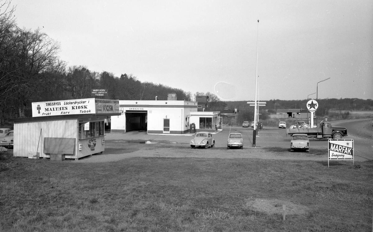 På Sunnavägen, Bergåsa, fanns Caltex-stationen som byggdes 1953 och som senare blev Texaco. Källa Blekinge Museum.