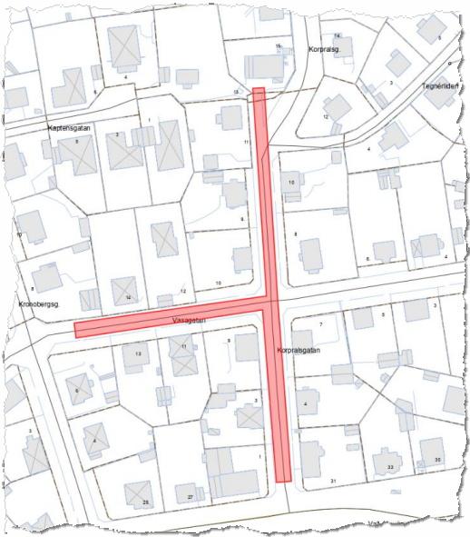 Fjärrvärme- och VA-arbeten på Korpralsgatan, Bergåsa.
