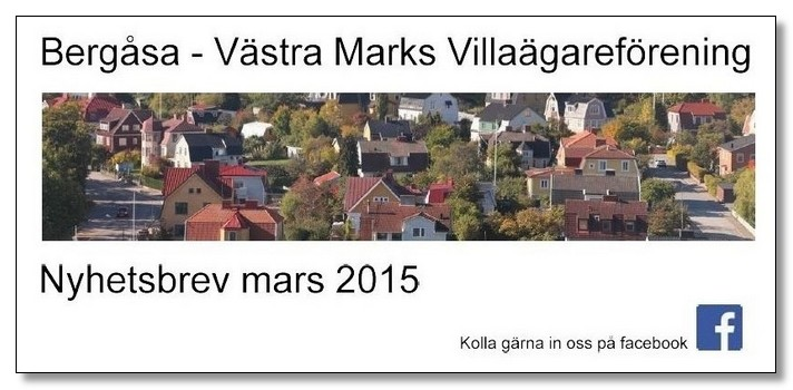 Villaföreningens Nyhetsbrev, Mars 2015