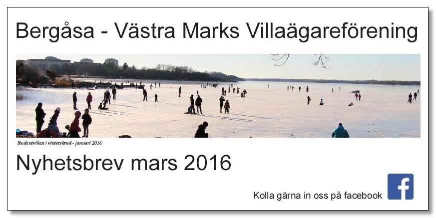 Villaföreningens nyhetsbrev, Mars 2016